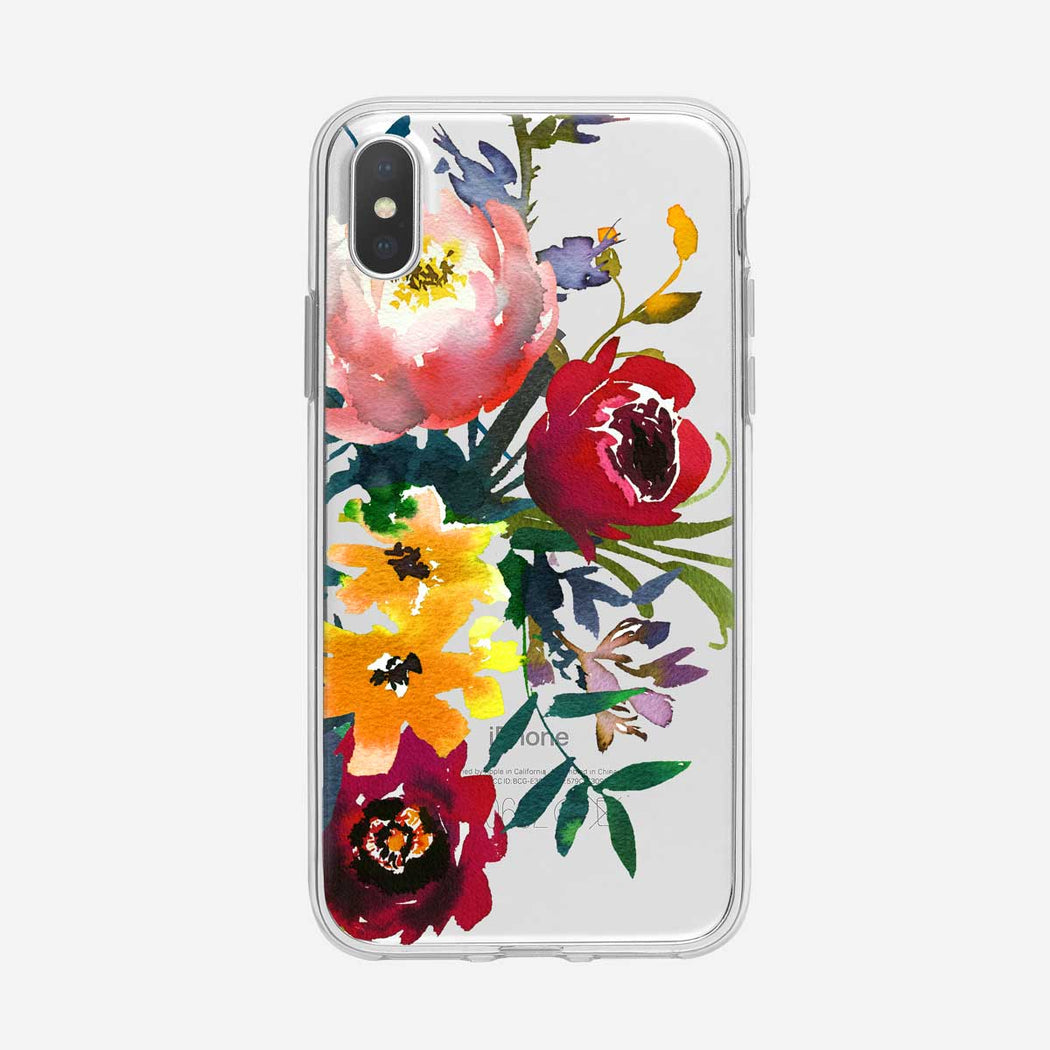 Multicolor Bouquet Floral Clear iPhone Case From Tiny Quail