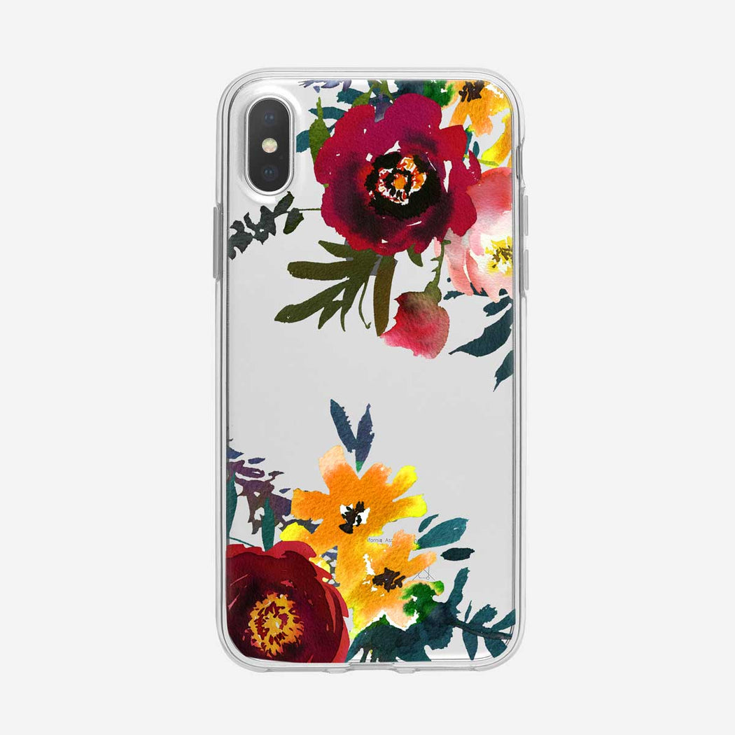 Multicolor Corner Floral Clear iPhone Case From Tiny Quail
