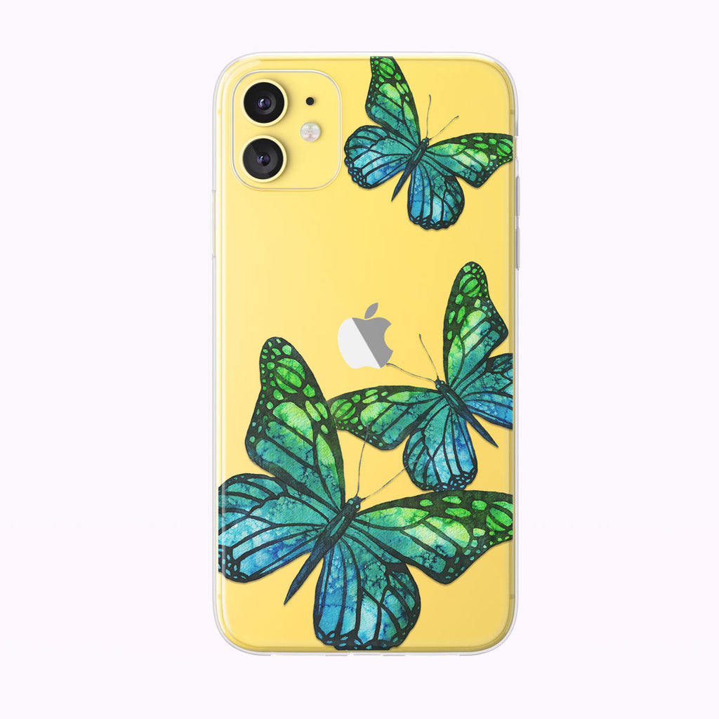 Blue and Green Soaring Butterflies iPhone Case from Tiny Quail