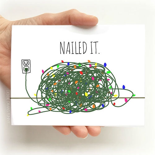 Nailed It Christmas Card, tangled Christmas lights, From Debbie Draws Funny