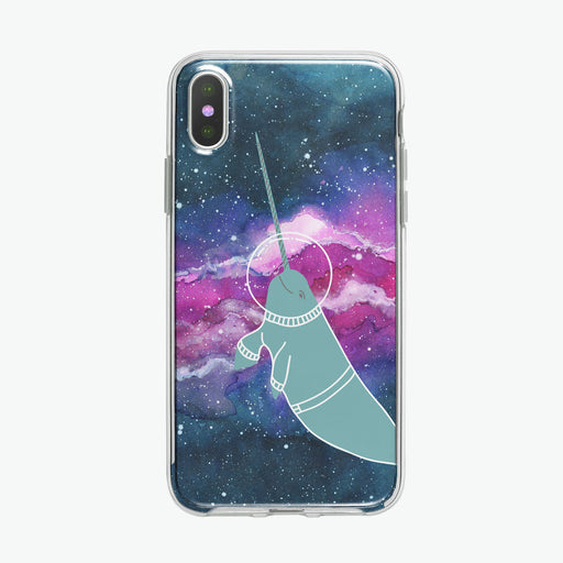 Narwhal in Space iPhone Case by Tiny Quail