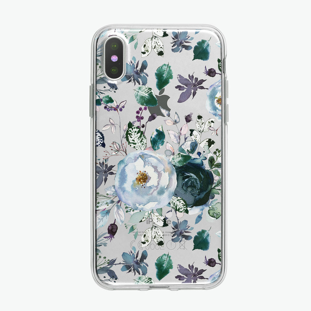 Boho Blue Peonies Pattern iPhone Case from Tiny Quail