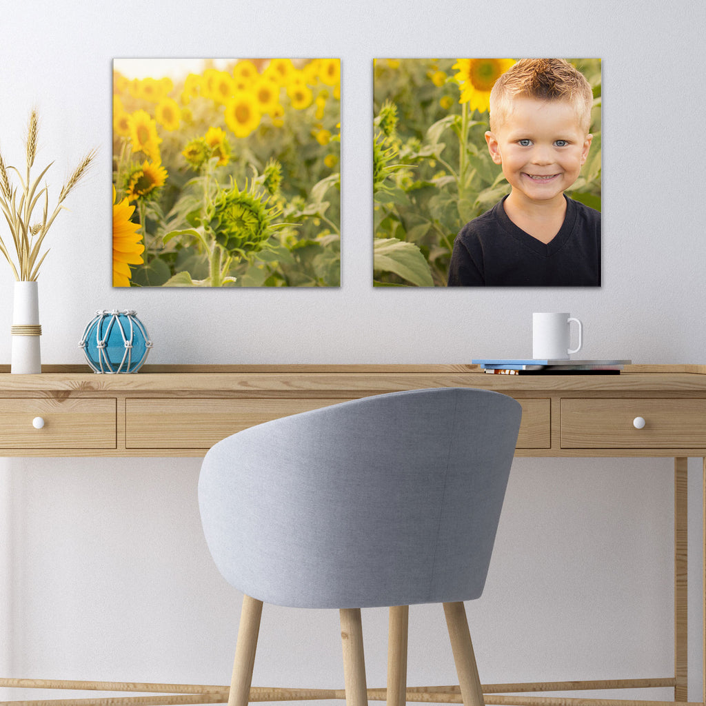 "Two 13"" x 13"" Photos on Glass , one with sunflowers, one with boy from Tiny Quail"