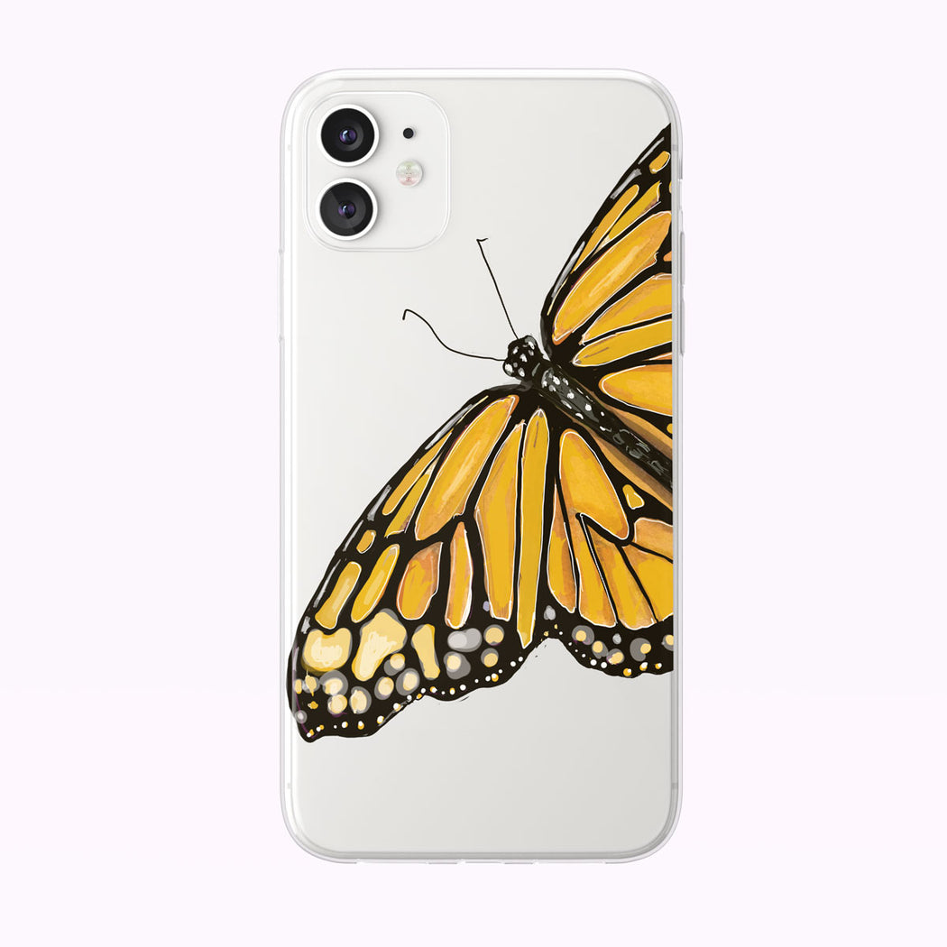 Single Orange Watercolor Butterfly iPhone Case by Tiny Quail