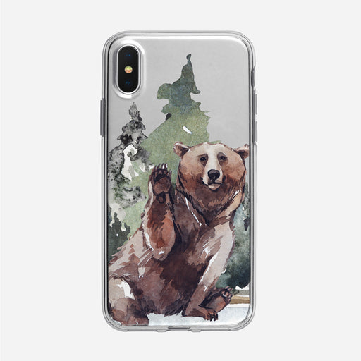 Waving Forest Bear iPhone Clear Case from Tiny Quail
