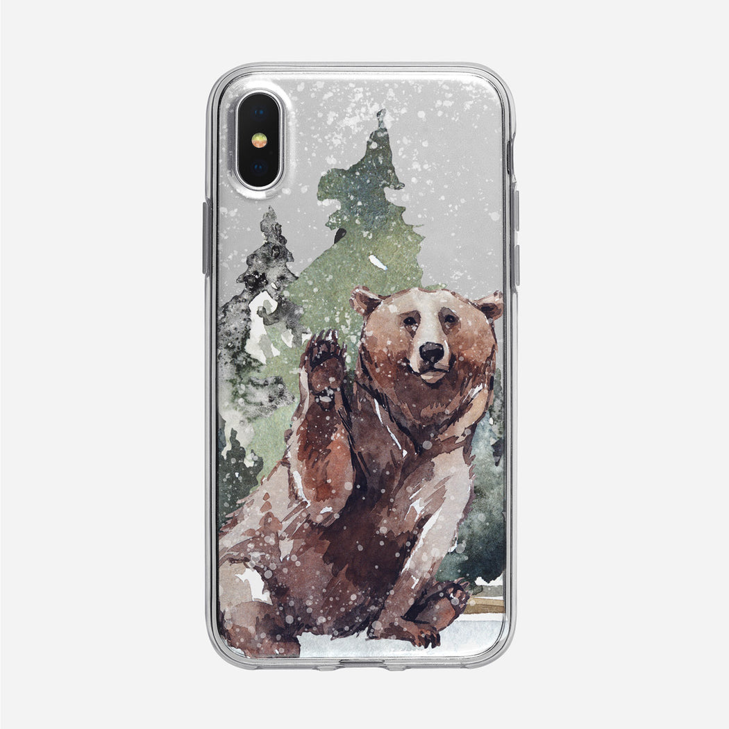 Waving Snowy Bear iPhone Clear Case from Tiny Quail