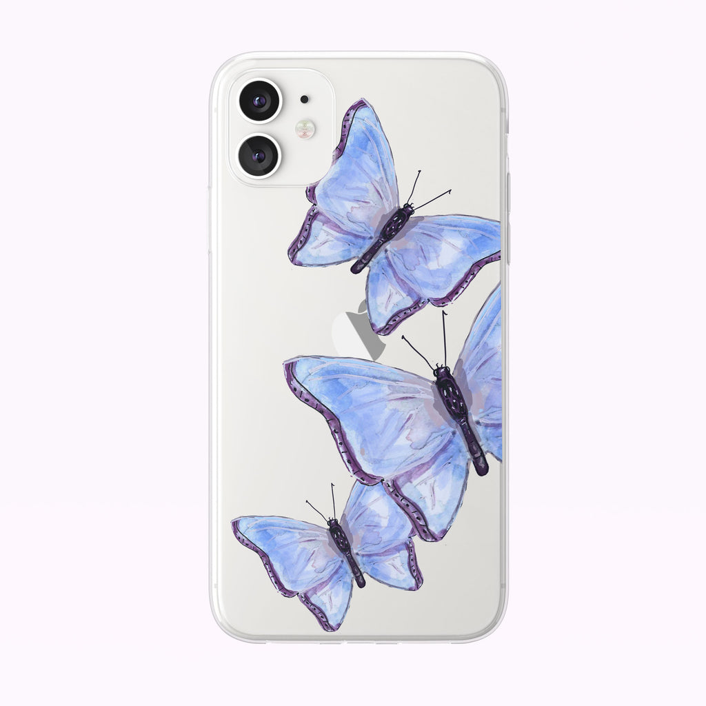 Blue Watercolor Butterfly Trio iPhone Case by Tiny Quail