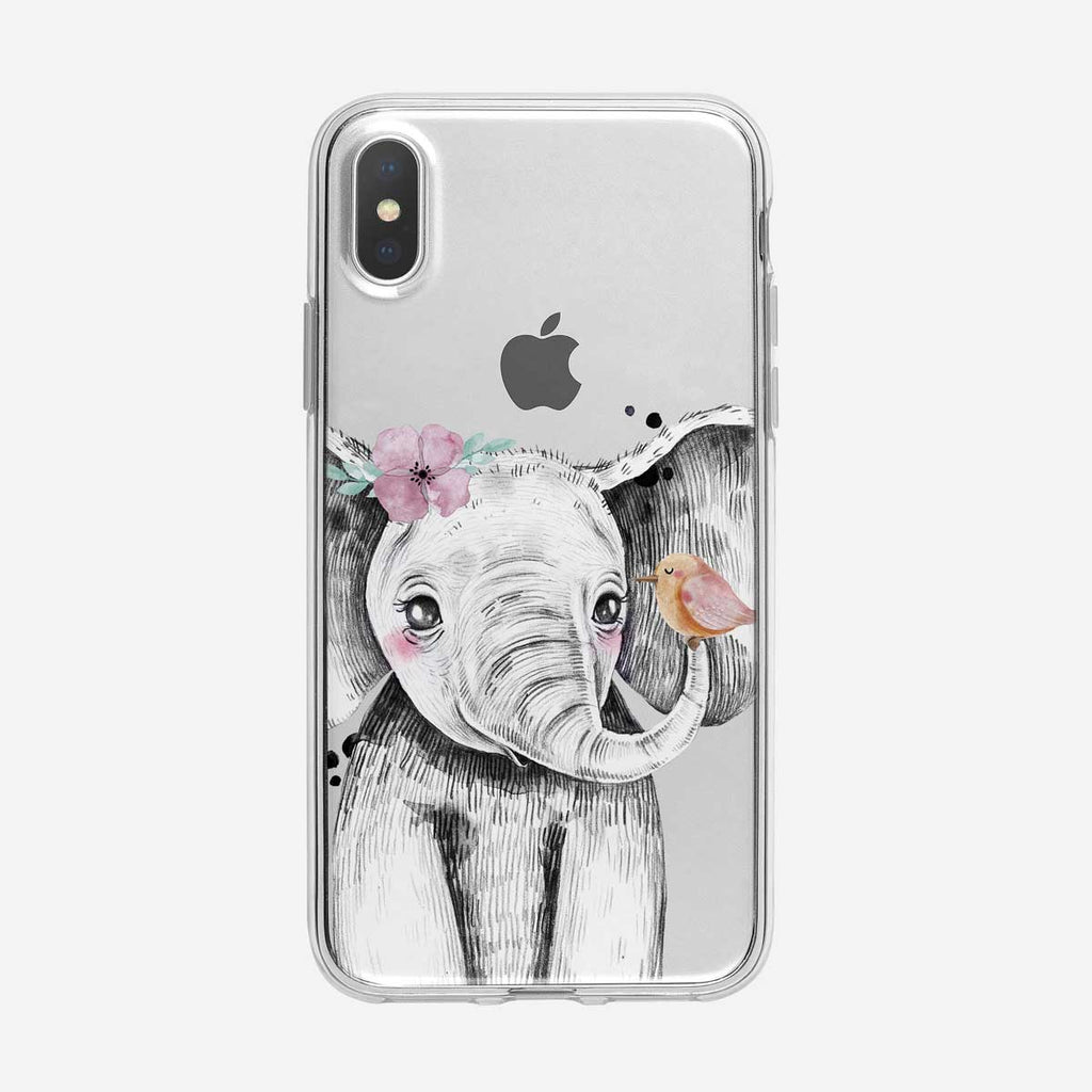 Baby Elephant with Cute Bird Clear iPhone Case from Tiny Quail
