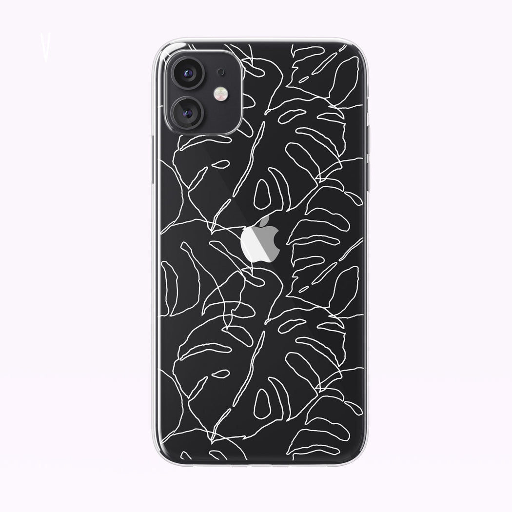 Line Art Tropical Leaves Clear iPhone Case from Tiny Quail