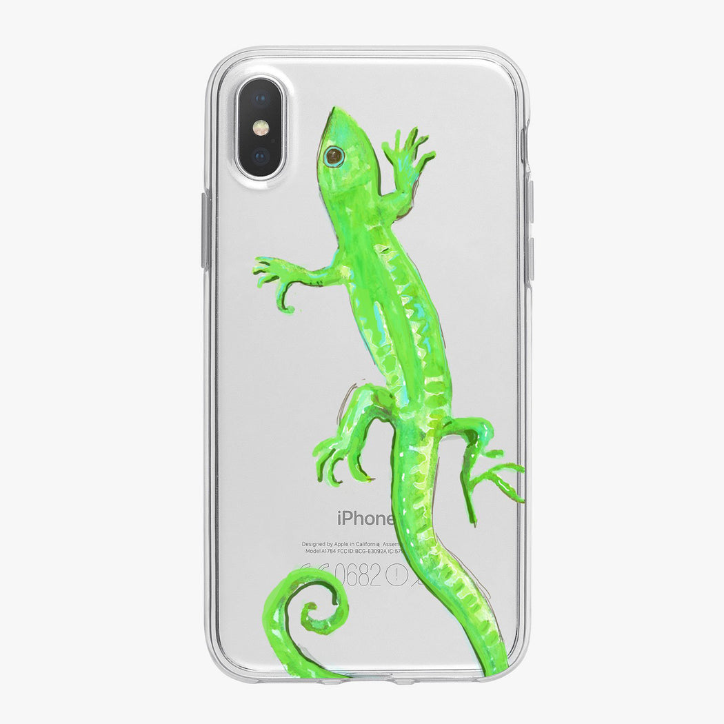 Green Watercolor Lizard Designer iPhone Case From Tiny Quail