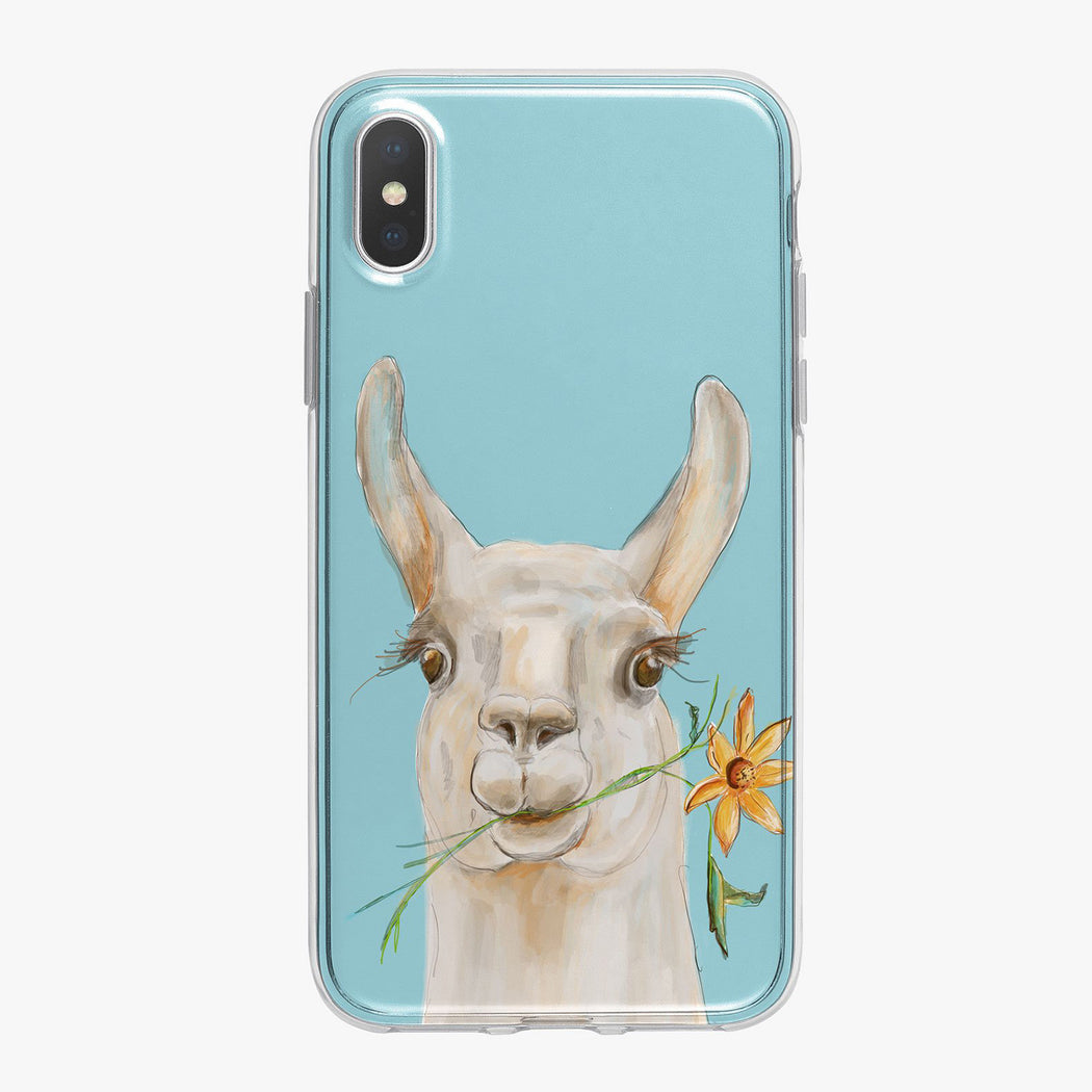 Llama on blue Designer iPhone Case From Tiny Quail