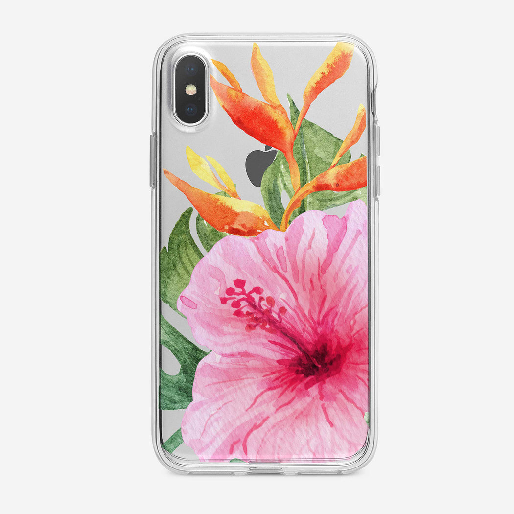 Pink Tropical Flower iPhone Case by Tiny Quail