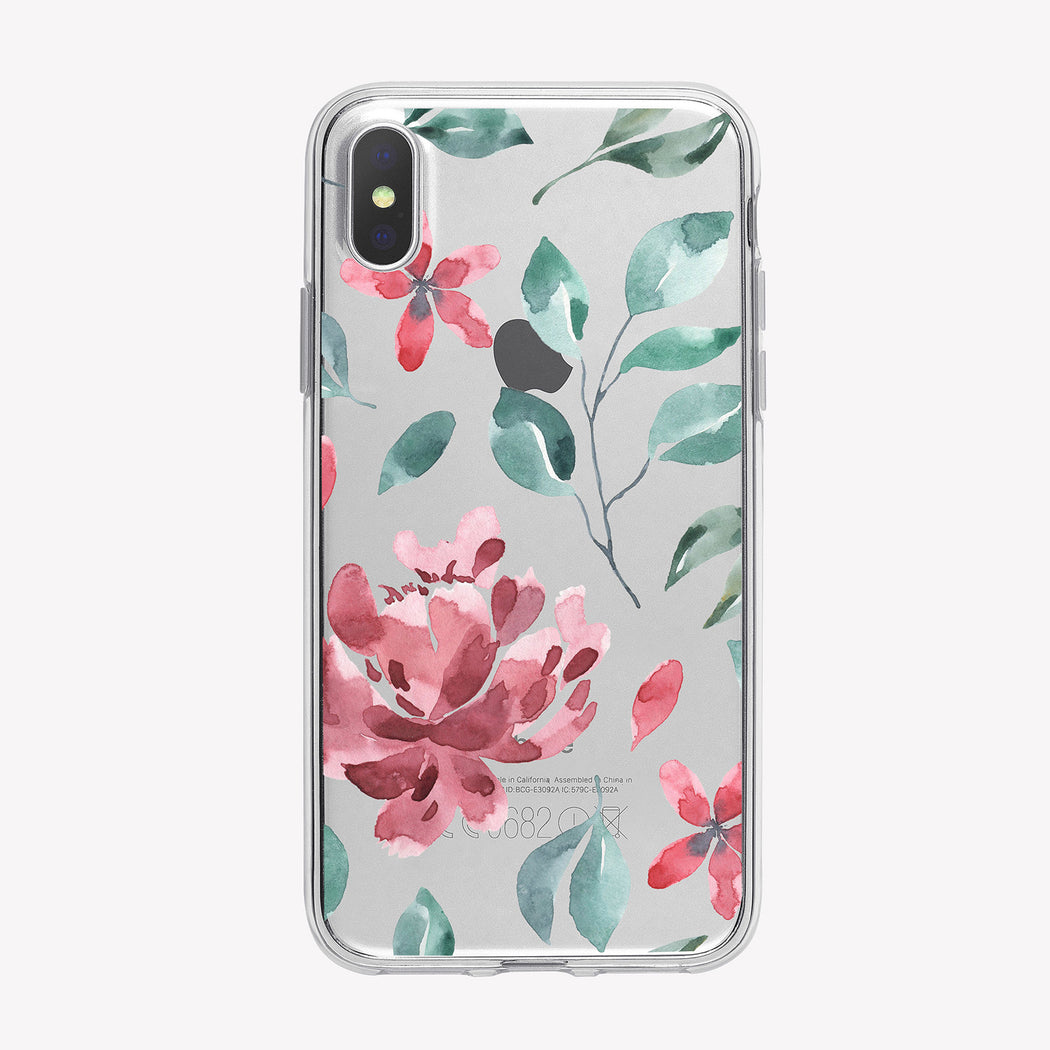 Pink Rose Pattern Clear iPhone Case from Tiny Quail