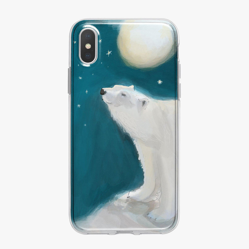 Polar Bear and Moon Designer iPhone Case From Tiny Quail