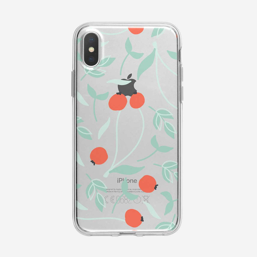 Orange Wild Berries Pattern iPhone Case from Tiny Quail