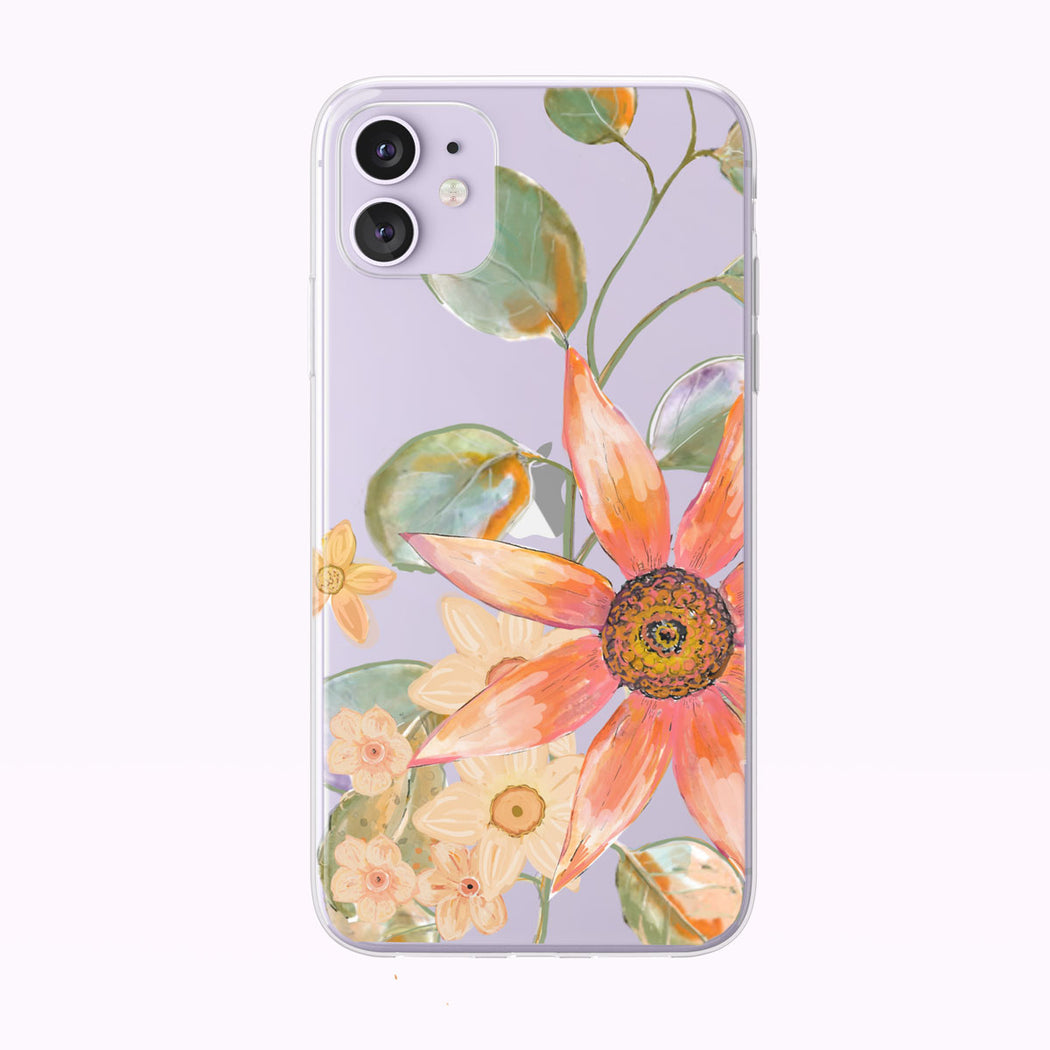 Orange and Pink Summer Floral Clear iPhone Case by Tiny Quail