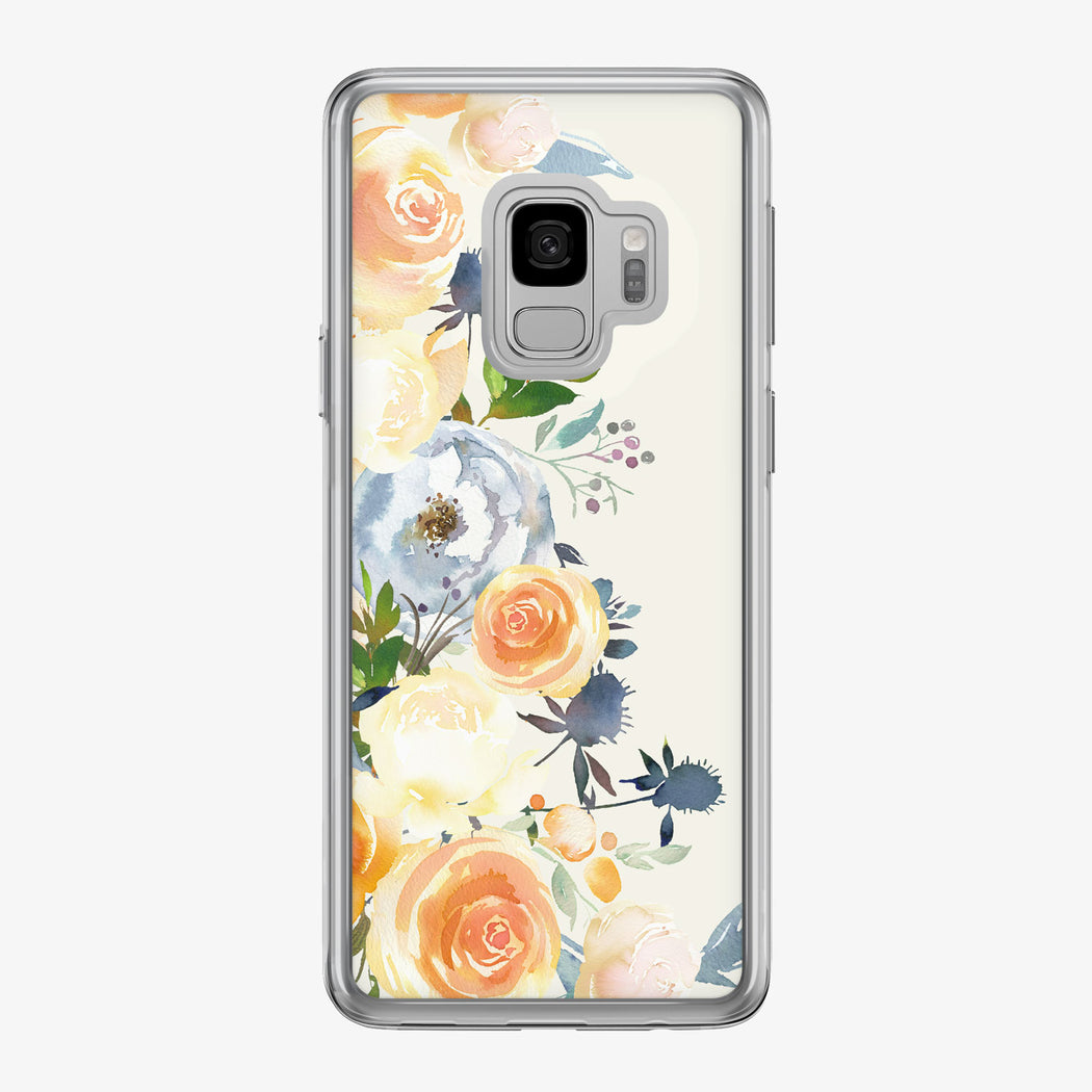 Orange Rose Peonies White Samsung Galaxy Phone Case from Tiny Quail