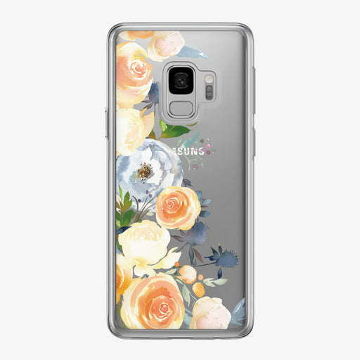 Orange Rose Peonies Clear Samsung Galaxy Phone Case from Tiny Quail