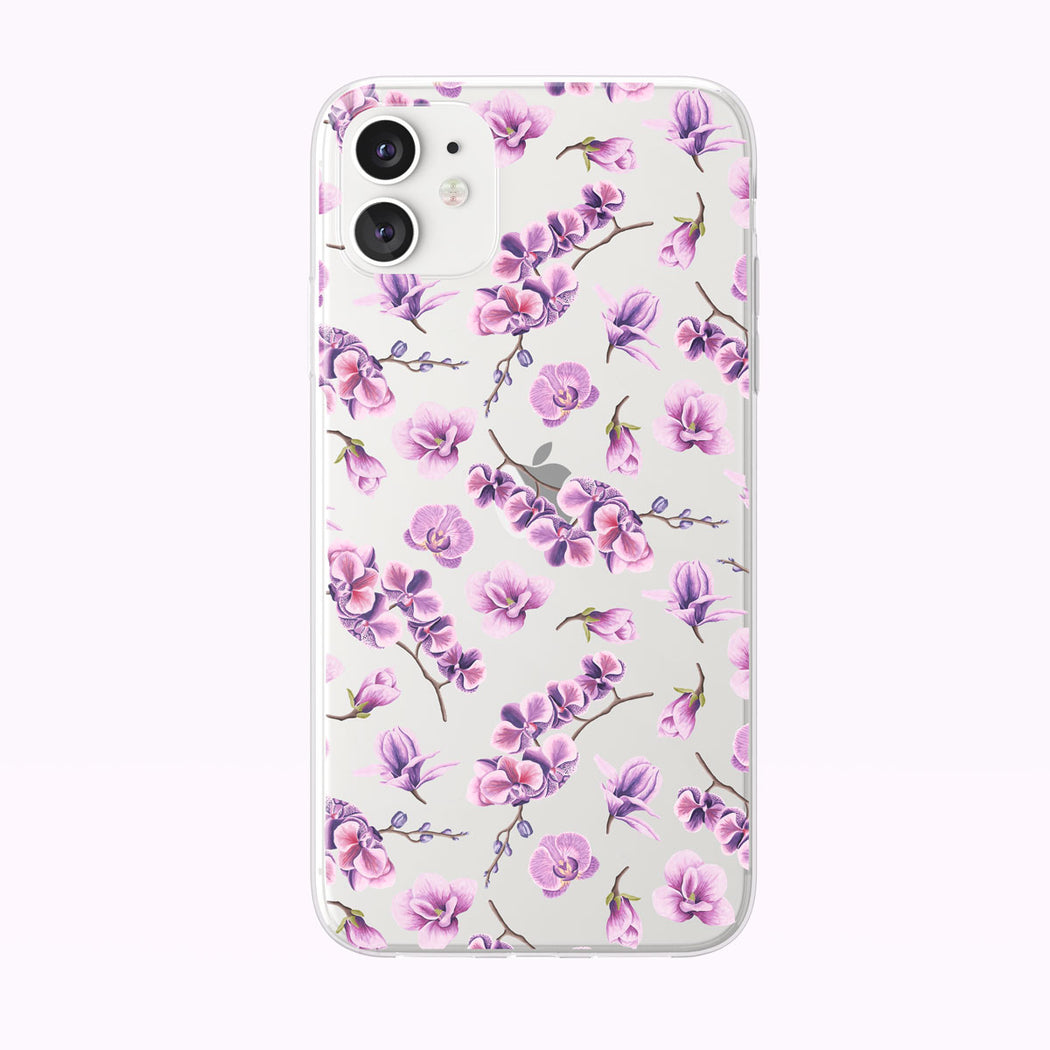 Pink Orchid Pattern Clear iPhone Case from Tiny Quail