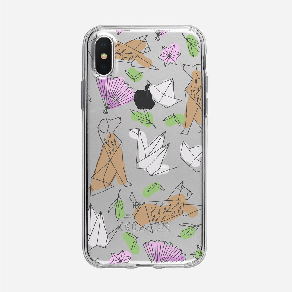 Cute Origami Line Art Clear iPhone Case from Tiny Quail