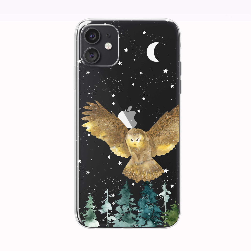 Flying Forest Owl Black iPhone Case from Tiny Quail