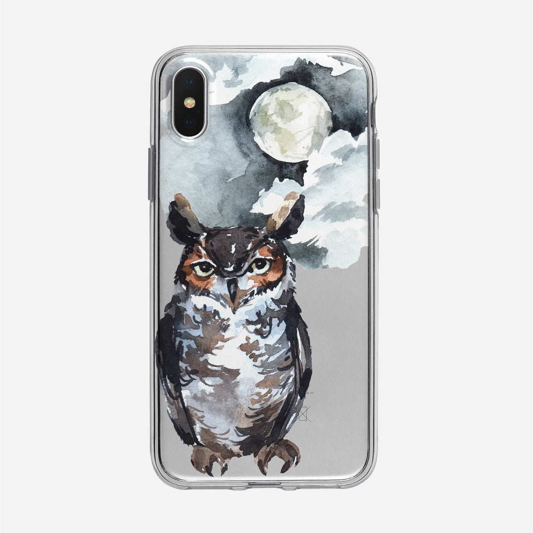 Watercolor Nighttime Owl iPhone Clear Case from Tiny Quail