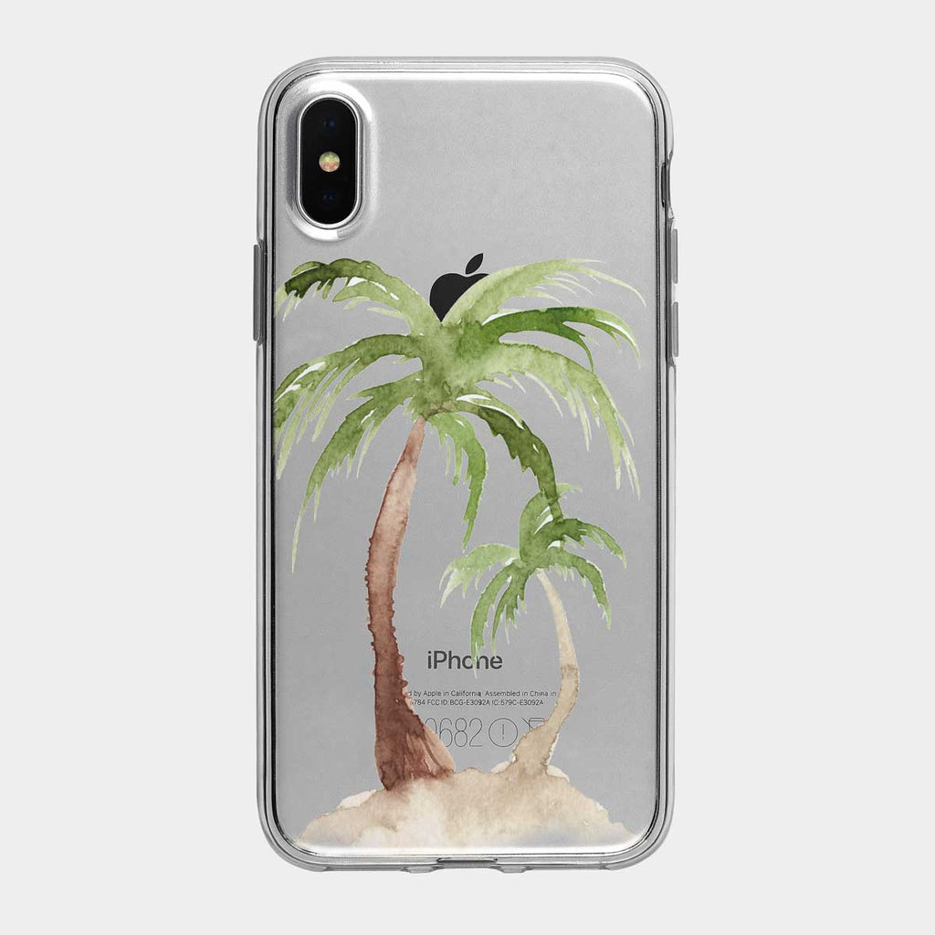 Watercolor Palm Tree Island Clear iPhone Case from Tiny Quail