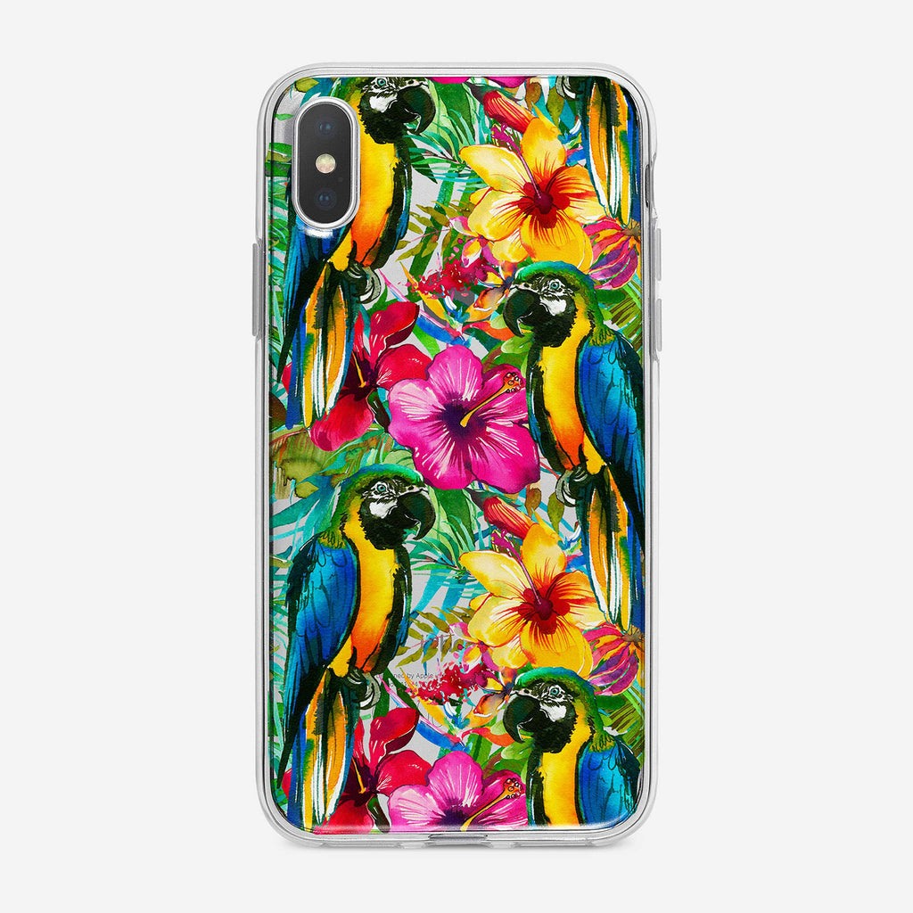 Tropical Parrot Pattern Clear iPhone Case by Tiny Quail
