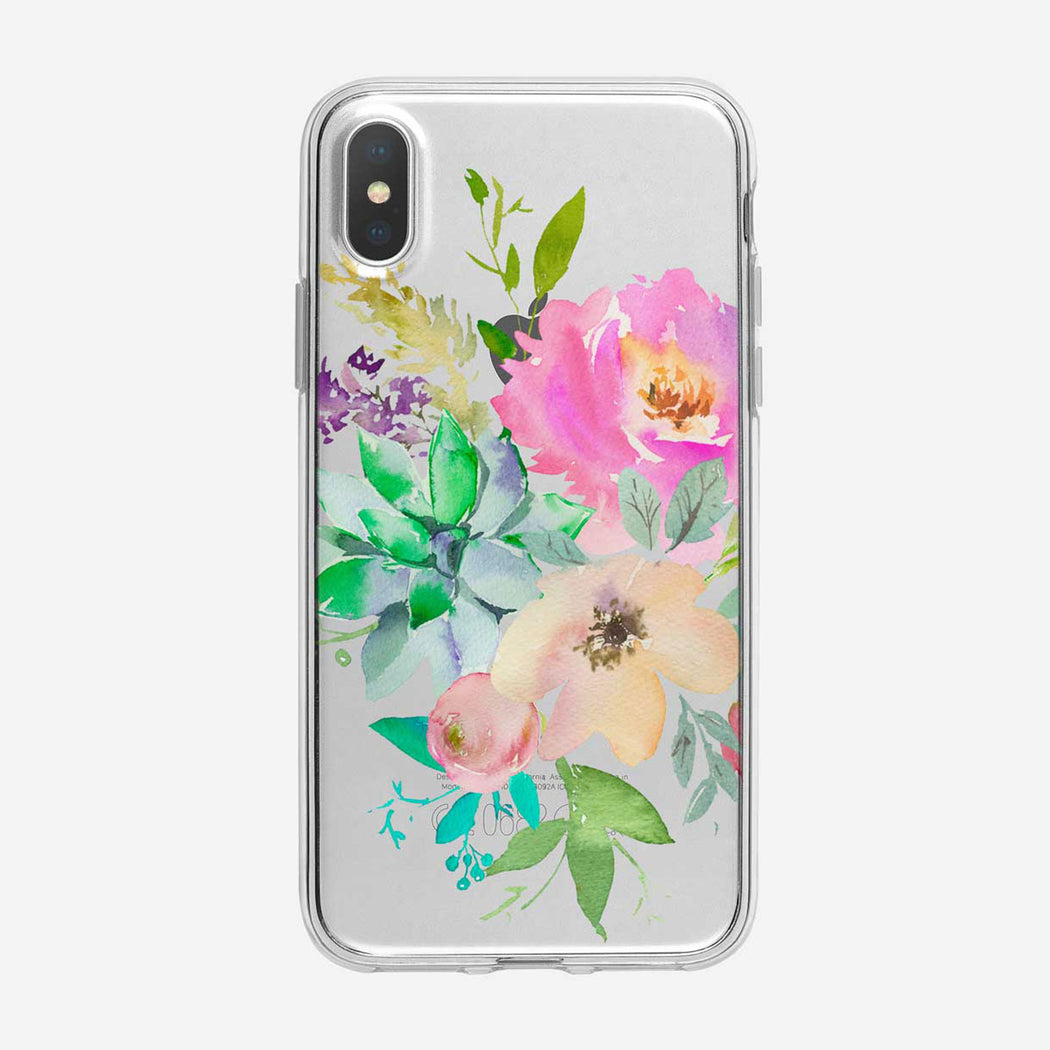 Beautiful  Pastel Floral Bouquet Clear iPhone Case From Tiny Quail