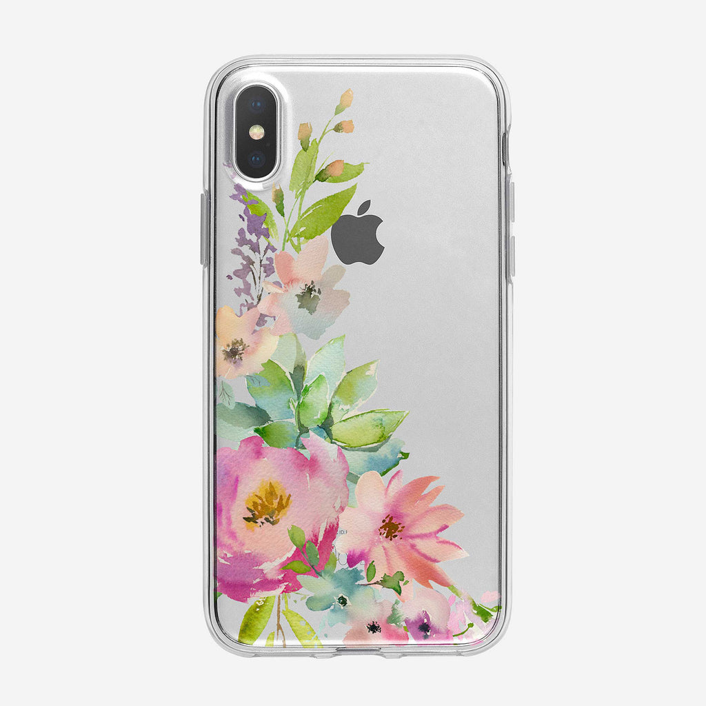 Summery Pastel Floral Bouquet Clear iPhone Case From Tiny Quail