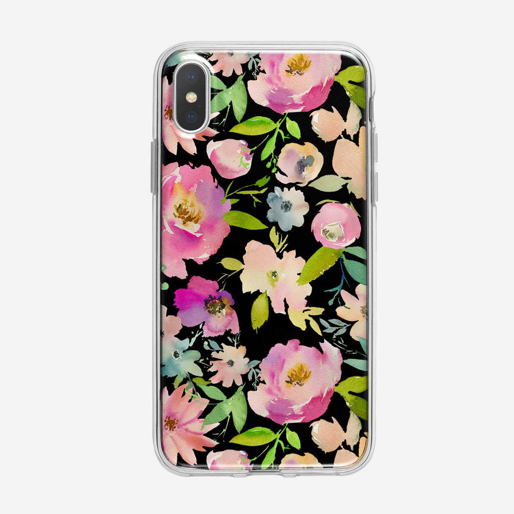 Lavish Floral Pattern on Black Clear iPhone Case From Tiny Quail