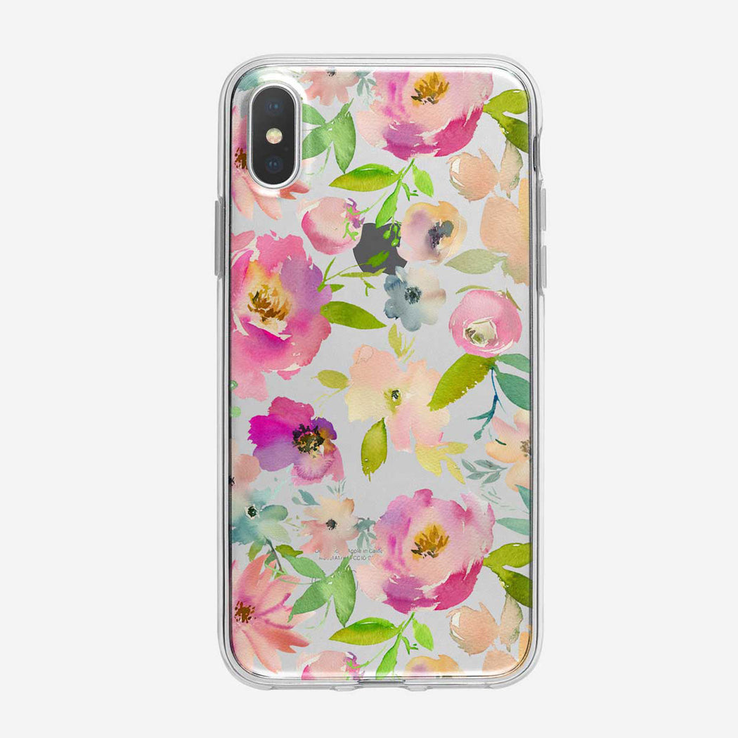 Lavish Floral Pattern Clear iPhone Case From Tiny Quail