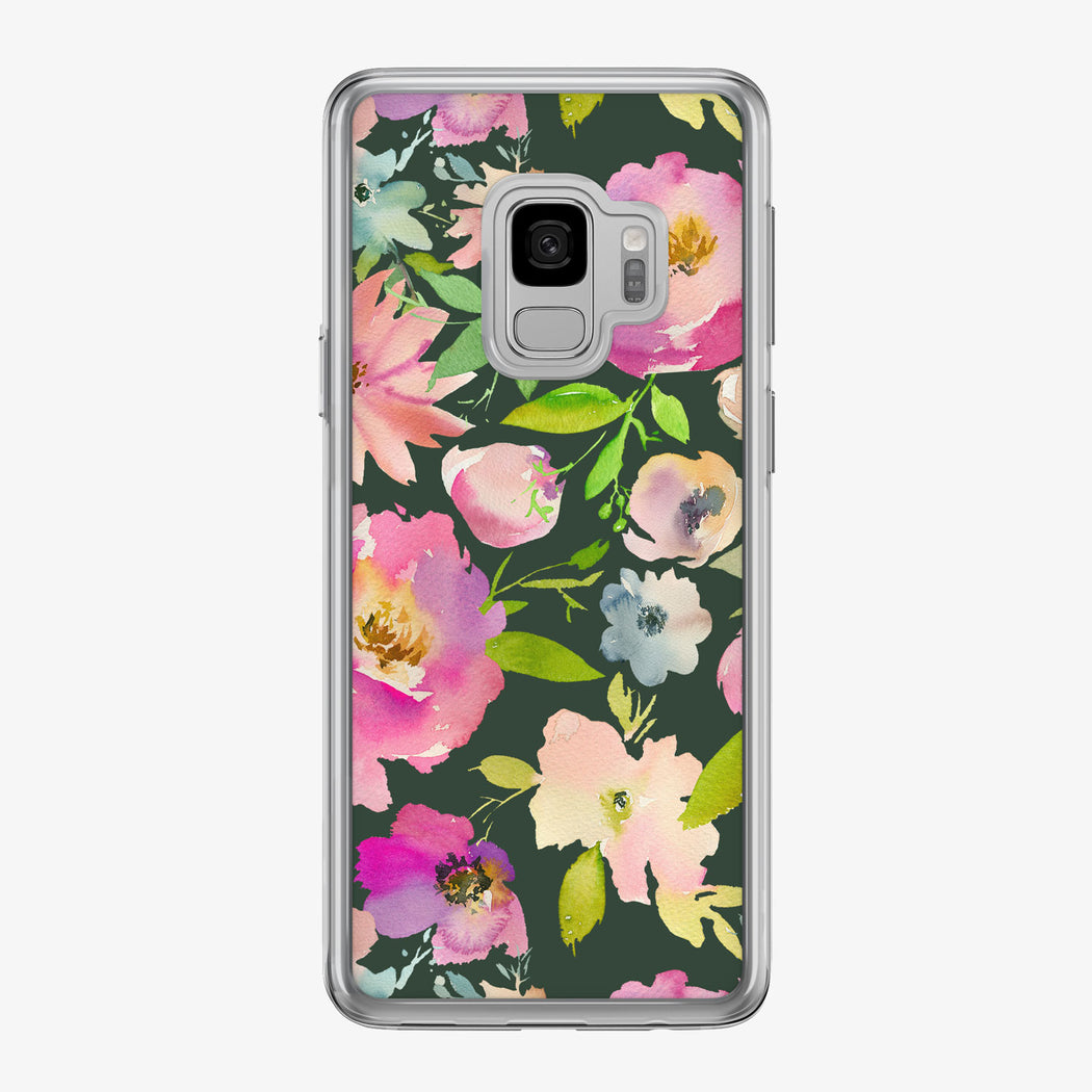 Pastel Floral on Black Samsung Galaxy Phone Case from Tiny Quail