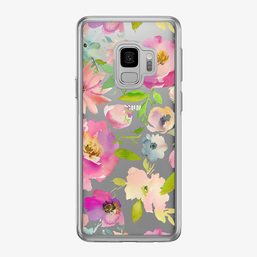 Pastel Floral Pattern Clear Samsung Galaxy Phone Case from Tiny Quail