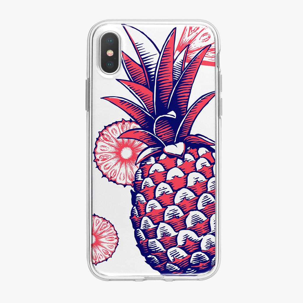 Patriotic Pineapple with red slices iPhone Case by Tiny Quail