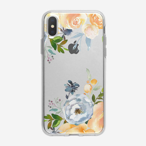 Colorful White and Peach Roses Clear iPhone Case from Tiny Quail
