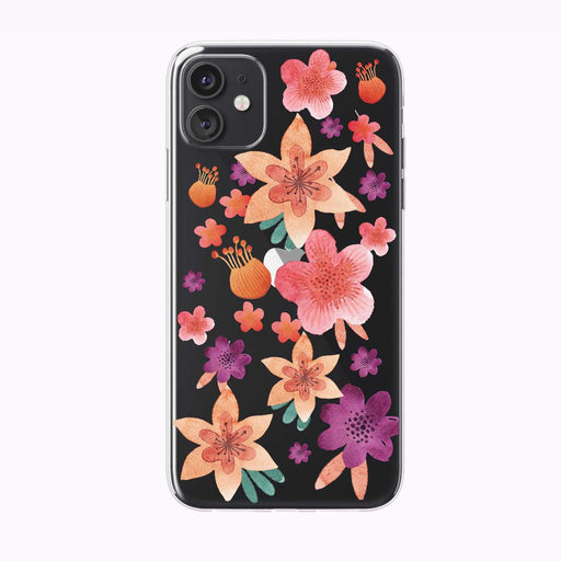 Peachy Garden Floral Pattern Clear iPhone Case from Tiny Quail