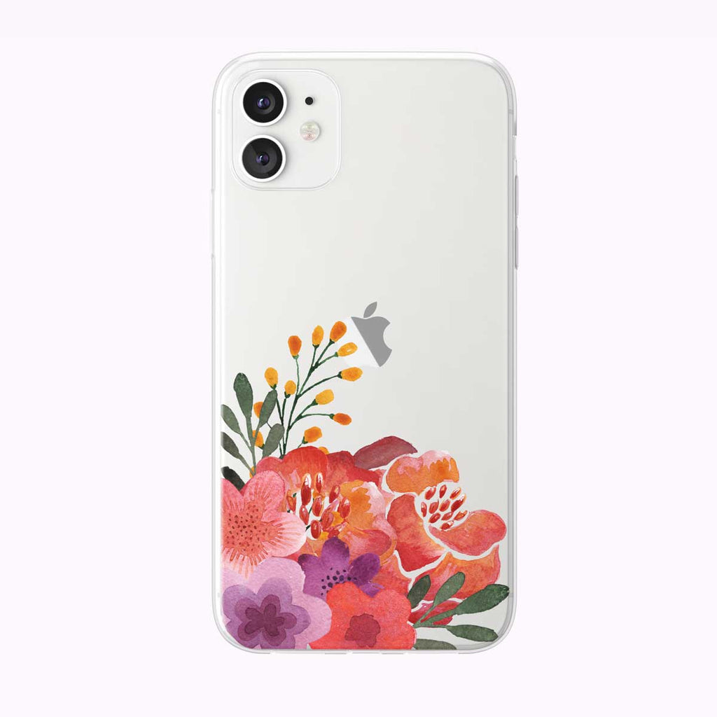 Peachy Garden Floral Corner Clear iPhone Case from Tiny Quail