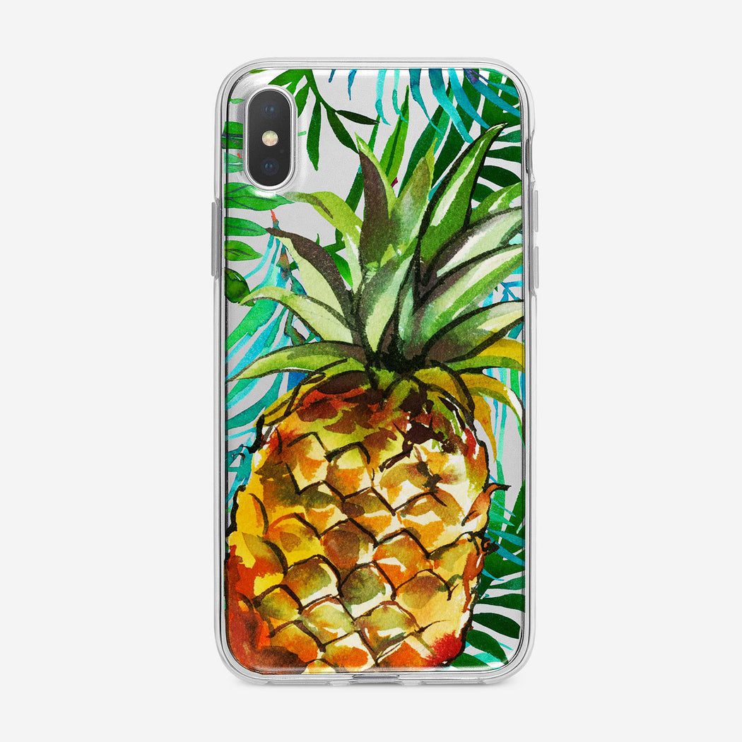 Tropical Pineapple And Leaves iPhone Case by Tiny Quail