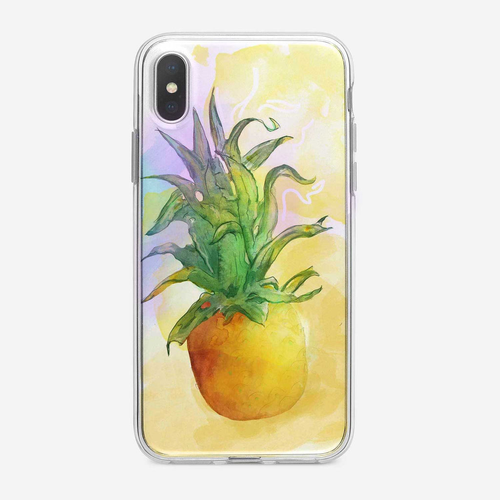 Watercolor Pineapple iPhone Case by Tiny Quail