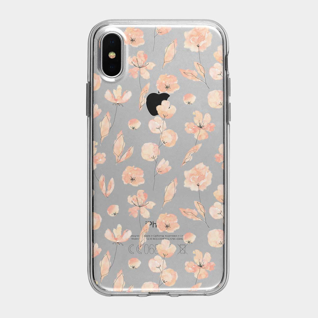 Pink Ink Floral Clear iPhone Case from Tiny Quail