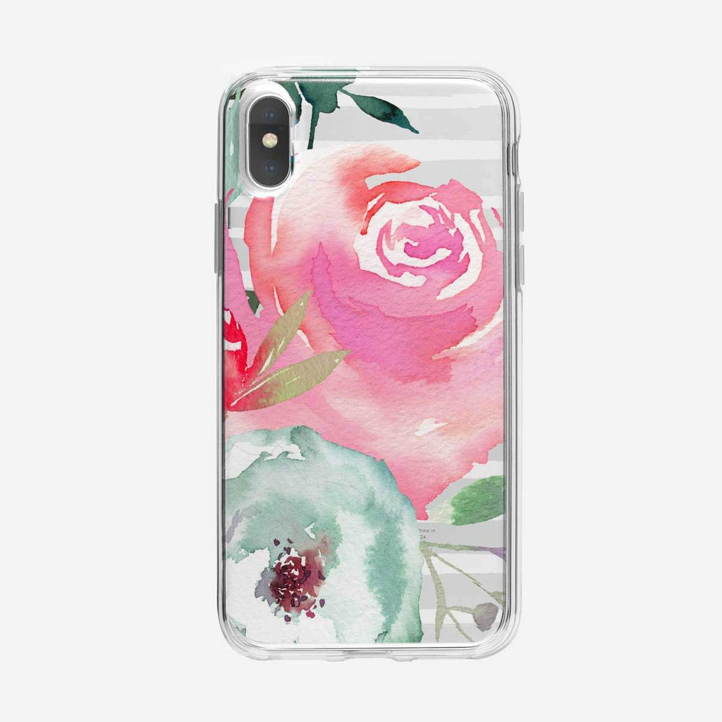 Striped Watercolor Pink Rose iPhone Case From Tiny Quail