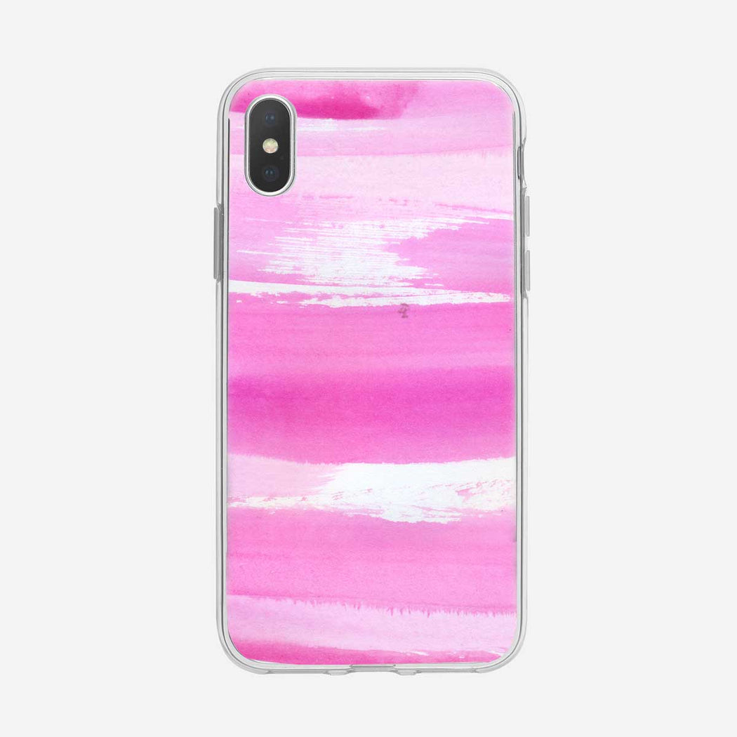 Abstract Pink Watercolor Stripes iPhone Case by Tiny Quail