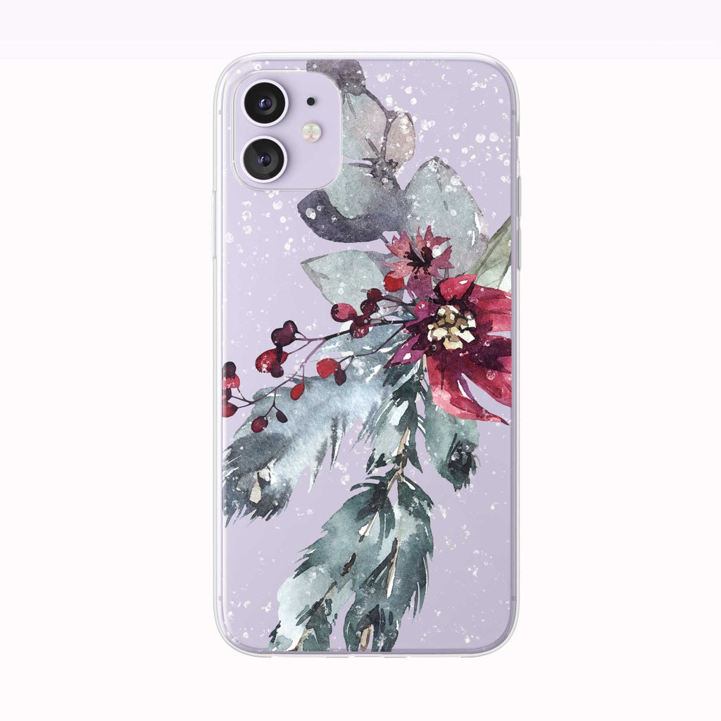 Snowy Holiday Poinsettia purple iPhone Case from Tiny Quail