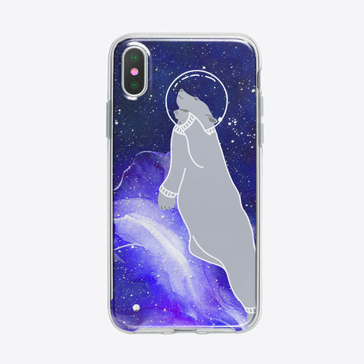 Polar Bear in Space iPhone Case by Tiny Quail