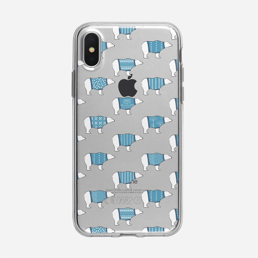 Cute Polar Bear Pattern iPhone Clear Case from Tiny Quail