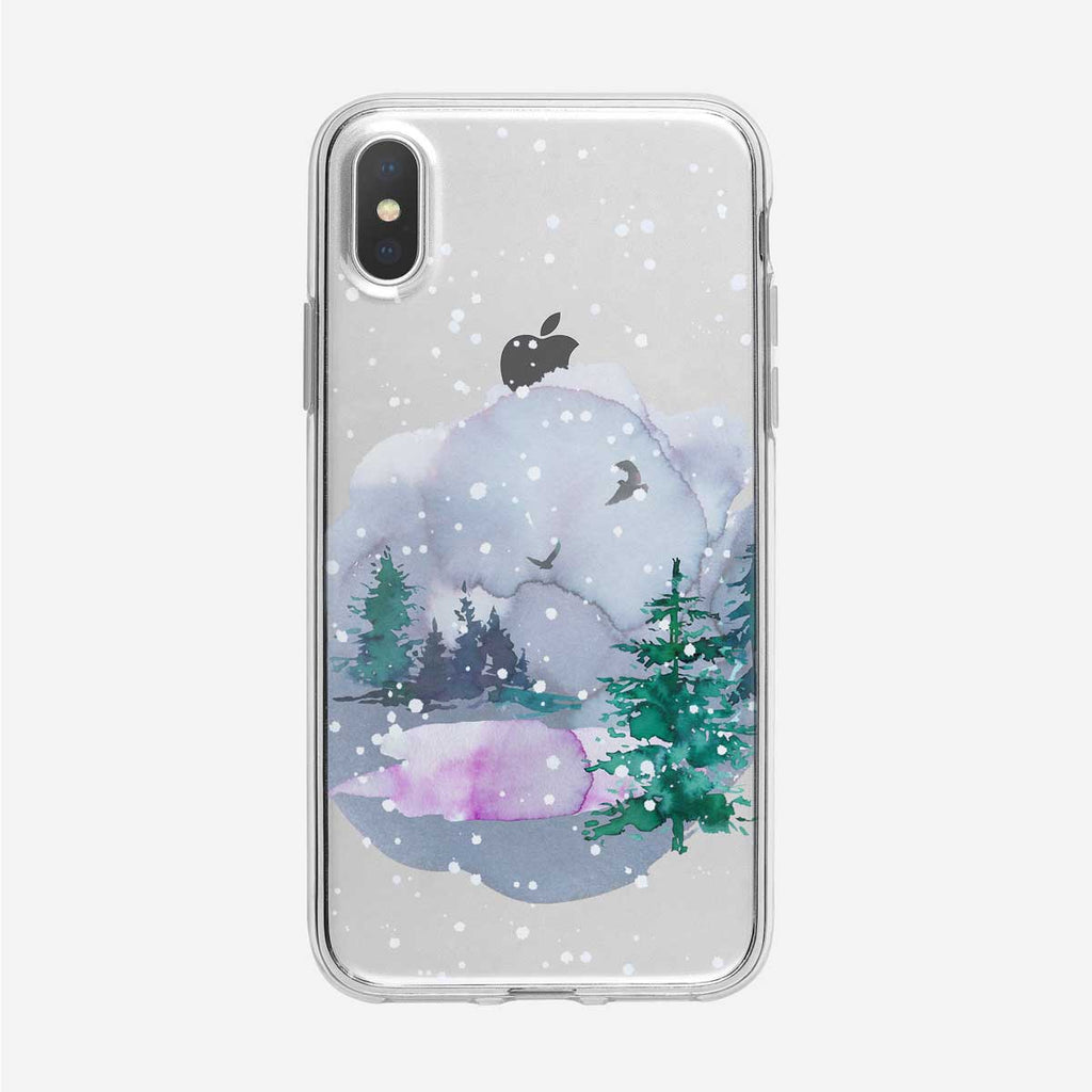 Snowing Forest Pond iPhone Case from Tiny Quail