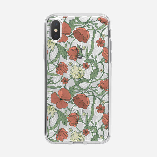 Art Nouveau Red Floral Clear iPhone Case from Tiny Quail