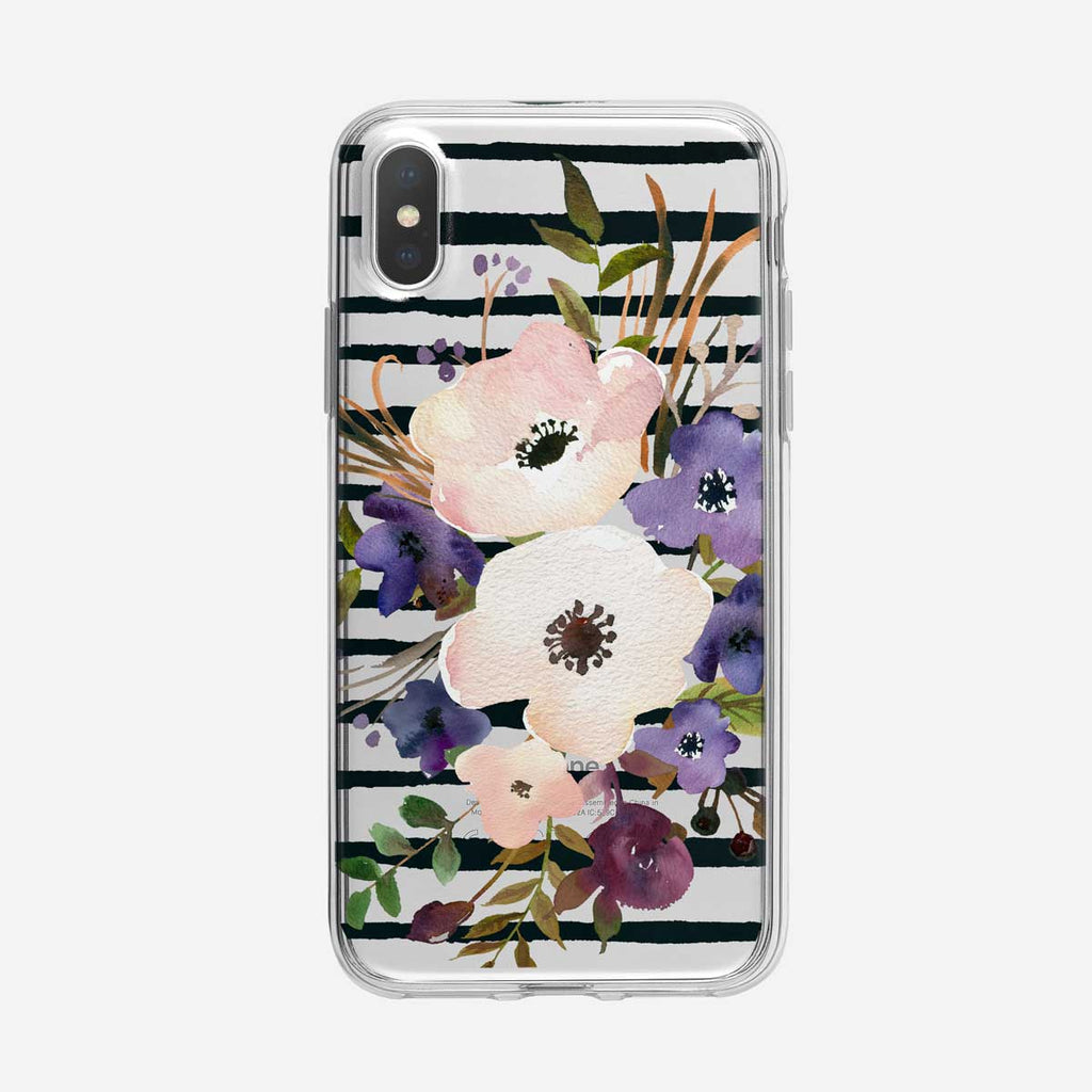 Black Striped Poppy Floral iPhone Case From Tiny Quail