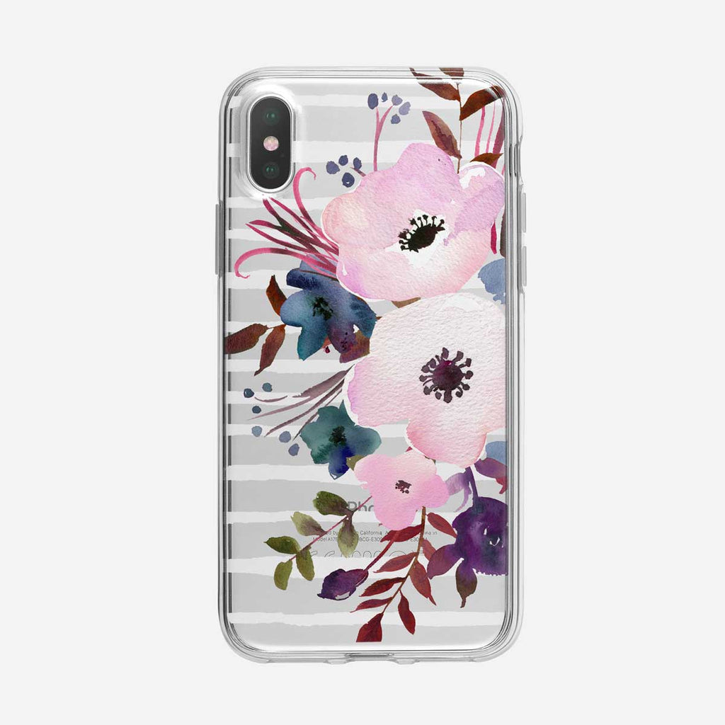 White Striped Poppy Floral iPhone Case From Tiny Quail